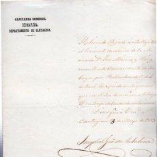Líneas de navegación: CAPITANIA GENERAL DE MARINA, CARTAGENA, ENTREGA DE BUQUE A COMANDANTE, 1859. Lote 29237830