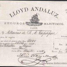 Líneas de navegación: LLOYD ANDALUZ.- SEGUROS MARÍTIMOS- AÑO 1880. Lote 29498375