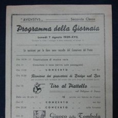 Líneas de navegación: BARCO 'AUGUSTUS'. PROGRAMA DE LA JORNADA. SECONDA CLASSE. 1939. 28 X 17 CM.. Lote 29575977