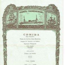 Líneas de navegación: COMPAÑÍA TRASMEDITERRANEA. COMIDA, EN EL VILLA DE MADRID EN EL MAR, 29 DE JUNIO DE 1935. Lote 30169804