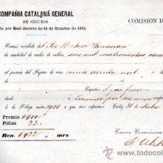 Líneas de navegación: POLIZA DE SEGUROS DE LA COMPAÑÍA CATALANA GENERAL, PREMIO DE SEGURO A TÉRMINO POR SEIS MESES 1859. Lote 30507257