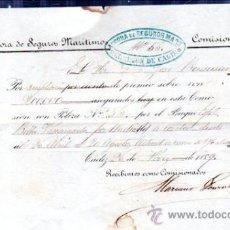Líneas de navegación: ANCORA DE SEGUROS MARÍTIMOS, CÁDIZ 1859, AMPLIACIÓN DE PÓLIZA DEL BUQUE BELLA VASCONGADA. Lote 30507841