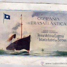 Líneas de navegación: LAMINA ORIGINAL 14 X 19,50 CM. COMPAÑIA TRASATLÁNTICA. RIENA VICTORIA EUGENIA, INFANTA ISABEL BORBON. Lote 31072440