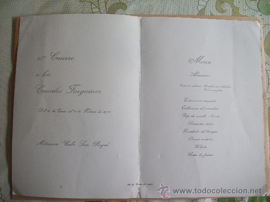 Líneas de navegación: CRUCERO CANALES FUEGUINOS. MENU. TORO IBERICO. MAXIMO DE PABLO. COLECCIÓN YBARRA - 1971 - Foto 2 - 31764003