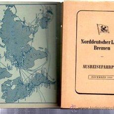 Linhas de navegação: LISTA DE VIAJES DE LA NORDEUSCHER LLOYD BREMEN 1938, A AMÉRICA, 15 POR 11CM. Lote 32174428