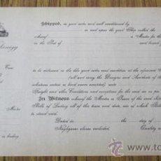 Líneas de navegación: CARTA EMBARQUE .. WILHELM WAKONIGG – BILBAO .. 19.. SIN RELLENAR. Lote 163780874
