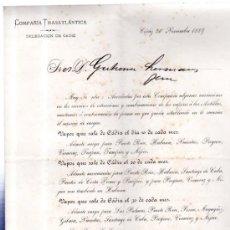 Líneas de navegación: COMPAÑÍA TRASATLÁNTICA 1889, ITINERARIO DE VAPORES PARA AMÉRICA. Lote 32315021