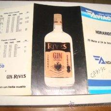Líneas de navegación: LINEAS AEREAS AVIACO ANDALUCIA 1992 , PUBLICIDAD GIN RIVES . Lote 32593279