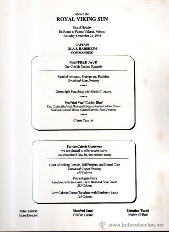 Líneas de navegación: MENÚ DEL BARCO ROYAL VIKING SUN, DE LA NAVIERA ROYAL VIKING LINE, 1994 - Foto 2 - 33161761