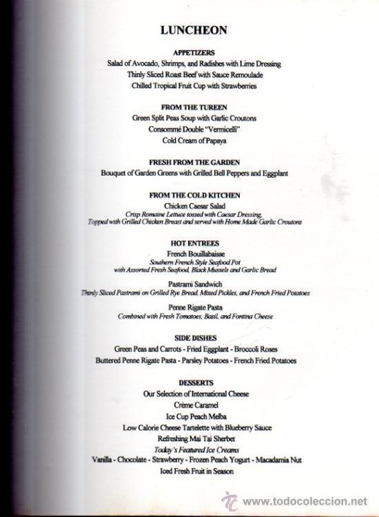 Líneas de navegación: MENÚ DEL BARCO ROYAL VIKING SUN, DE LA NAVIERA ROYAL VIKING LINE, 1994 - Foto 3 - 33161761