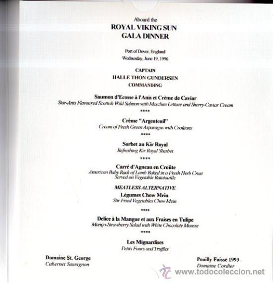 Líneas de navegación: MENÚ DEL BARCO ROYAL VIKING SUN, DE LA NAVIERA ROYAL VIKING LINE, 1997 - Foto 2 - 33203528