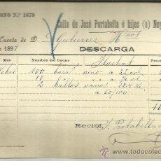 Líneas de navegación: CARTA DE CARGA Y DESCARGA DE VAPORES. COLLA DE JOSÉ PORTABELLA E HIJOS. BARCELONA 1897. Lote 36938376