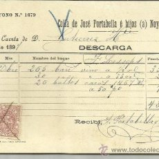 Líneas de navegación: CARTA DE CARGA Y DESCARGA DE VAPORES. COLLA DE JOSÉ PORTABELLA E HIJOS. BARCELONA. 1897. Lote 36938547