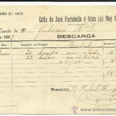 Líneas de navegación: CARTA DE CARGA Y DESCARGA DE VAPORES. COLLA DE JOSÉ PORTABELLA E HIJOS. BARCELONA.1897. Lote 36938668