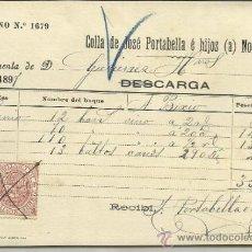 Líneas de navegación: CARTA DE CARGA Y DESCARGA DE VAPORES. COLLA DE JOSÉ PORTABELLA E HIJOS. BARCELONA. 1897. Lote 36940043