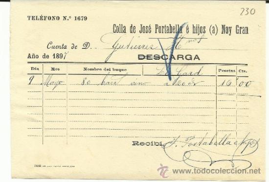CARTA DE CARGA Y DESCARGA DE VAPORES. COLLA DE JOSÉ PORTABELLA E HIJOS. BARCELONA. 1897 (Coleccionismo - Líneas de Navegación)
