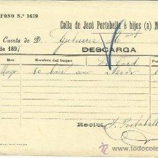 Líneas de navegación: CARTA DE CARGA Y DESCARGA DE VAPORES. COLLA DE JOSÉ PORTABELLA E HIJOS. BARCELONA. 1897. Lote 36940428