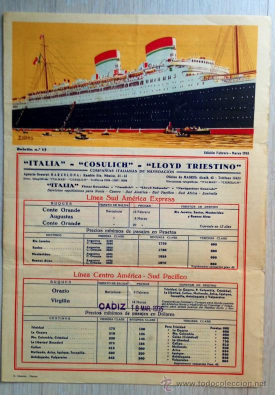 ATENCIÓN! BUENÍSIMO FOLLETO TRANSATLANTICO, GRANDE 24X34 CM, LITOGRÁFICO 1935. MUY BONITO. BARCO (Coleccionismo - Líneas de Navegación)