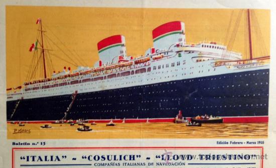 Líneas de navegación: ATENCIÓN! Buenísimo Folleto TRANSATLANTICO, grande 24x34 cm, litográfico 1935. muy bonito. Barco - Foto 2 - 37191906