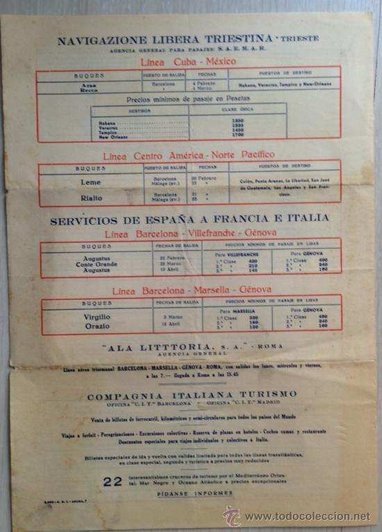 Líneas de navegación: ATENCIÓN! Buenísimo Folleto TRANSATLANTICO, grande 24x34 cm, litográfico 1935. muy bonito. Barco - Foto 4 - 37191906