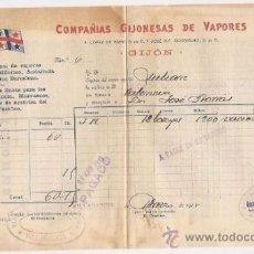 Líneas de navegación: CONOCIMIENTO DE EMBARQUE. FLETE, GIJÓN. COMPAÑÍAS GIJONESAS DE VAPORES. 1915. Lote 37281183