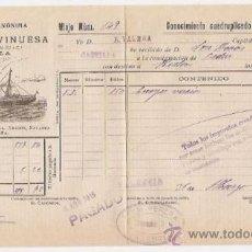 Líneas de navegación: CONOCIMIENTO DE EMBARQUE. FLETE, VAPORES VINUESA (SEVILLA). 1915. Lote 37281251
