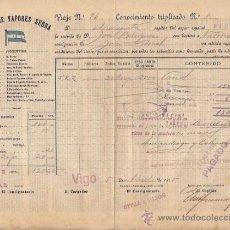 Líneas de navegación: CONOCIMIENTO DE EMBARQUE. FLETE. LÍNEA DE VAPORES SERRA. 1915. Lote 37281295