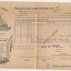 Líneas de navegación: CONOCIMIENTO DE EMBARQUE. FLETE. YBARRA. 1915. Lote 37281307