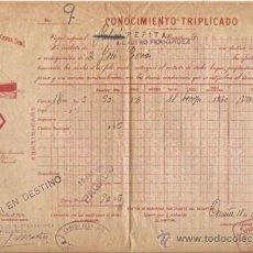 Líneas de navegación: CONOCIMIENTO DE EMBARQUE. FLETE. VAPORES RODRÍGUZ Y CERRA. GIJÓN. 1915. Lote 37281318