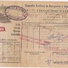Líneas de navegación: CONOCIMIENTO DE EMBARQUE. FLETE. COMPAÑÍA SEVILLANA DE NAVEGACIÓN. 1915. Lote 37281331
