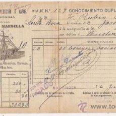 Líneas de navegación: CONOCIMIENTO DE EMBARQUE. FLETE. COMPAÑÍA SEVILLANA DE NAVEGACIÓN. 1915. Lote 37281335
