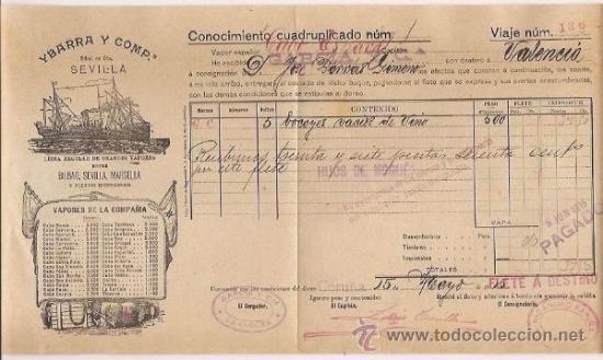 CONOCIMIENTO DE EMBARQUE. FLETE. YBARRA. 1915 (Coleccionismo - Líneas de Navegación)