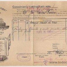 Líneas de navegación: CONOCIMIENTO DE EMBARQUE. FLETE. YBARRA. 1915. Lote 37281341
