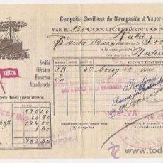 Líneas de navegación: CONOCIMIENTO DE EMBARQUE. FLETE. COMPAÑÍA SEVILLANA DE NAVEGACIÓN. 1915. Lote 37281461