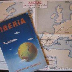 Líneas de navegación: MAPA - FOLLETO IBERIA, LINEAS AÉREAS ESPAÑOLAS. RUTAS DE VUELO. AVIACIÓN. AÑOS 50. Lote 37648491