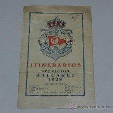 Lignes de navigation: (M-ALB2) FOLLETO ITINERARIOS COMPAÑIA TRASMEDITERRANEA , SERVICIOS BALEARES 1928, 2 PAG. Lote 38358812