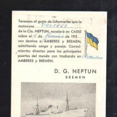 Linee di navigazione: CADIZ. TARJETA POSTAL. BAQUERA KUSCHE & MARTIN. SALIDA DE BARCO. D.G.NEPTUN. BREMEN.. Lote 38719452
