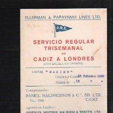 Líneas de navegación: TARJETA CARTEL DE SALIDA DE BARCO DEL PUERTO DE CADIZ CON DESTINO LONDRES. VAPOR DARINO. Lote 39055265