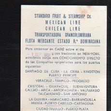 Líneas de navegación: TARJETA CARTEL DE SALIDA DE BARCO DEL PUERTO DE CADIZ CON DESTINO CUBA.. Lote 39055395