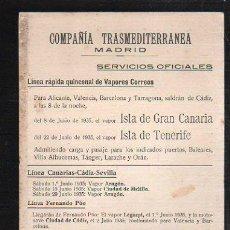 Líneas de navegación: TARJETA CARTEL DE SALIDA DE BARCO DEL PUERTO DE CADIZ CON DESTINO MARRUECOS. VAPOR ISLA DE TENERIFE. Lote 39055685