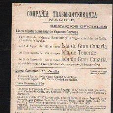Líneas de navegación: TARJETA CARTEL DE SALIDA DE BARCO DEL PUERTO DE CADIZ CON DESTINO MARRUECOS. VAPOR ISLA DE TENERIFE. Lote 39055736