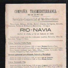 Líneas de navegación: TARJETA CARTEL DE SALIDA DE BARCO DEL PUERTO DE CADIZ CON DESTINO BARCELONA. VAPOR RIO-NAVIA. Lote 39066309