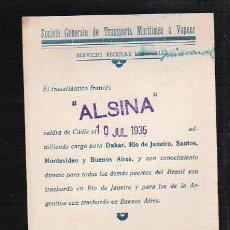 Líneas de navegación: TARJETA CARTEL DE SALIDA DE BARCO DEL PUERTO DE CADIZ CON DESTINO BRASIL - ARGENTINA. VAPOR ALSINA. Lote 39066352