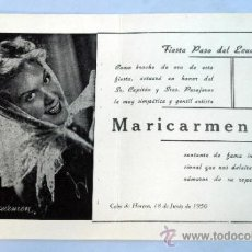 Líneas de navegación: PROGRAMA FIESTA PASO ECUADOR CABO DE HORNOS TRASATLÁNTICO LÍNEA NAVEGACIÓN MARICARMEN 1950. Lote 181727113