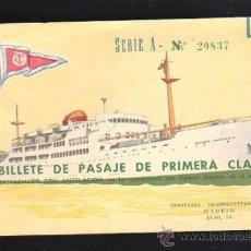 Líneas de navegación: BILLETE PASAJE 1º CLASE. TRASMEDITERRANEA 1963. TRAYECTO STA.CRUZ TENERIFE - CADIZ. BUQUE SEVILLA. Lote 39213988