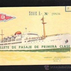 Líneas de navegación: BILLETE PASAJE 1º CLASE. TRASMEDITERRANEA 1963. TRAYECTO STA.CRUZ TENERIFE - CADIZ. BUQUE SEVILLA. Lote 39214015