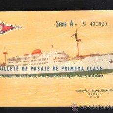 Líneas de navegación: BILLETE PASAJE 1º CLASE. TRASMEDITERRANEA 1963. TRAYECTO CADIZ - STA.CRUZ TENERIFE. BUQUE SEVILLA. Lote 39214035