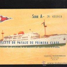 Líneas de navegación: BILLETE PASAJE 1º CLASE. TRASMEDITERRANEA 1963. TRAYECTO CADIZ - STA.CRUZ TENERIFE. BUQUE SEVILLA. Lote 39214043