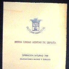 Líneas de navegación: MENÚ IBERIA. OPERACIÓN SATURNO 1968. ENVIO GRATIS¡¡¡. Lote 40734935