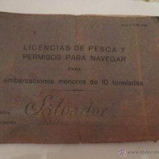Líneas de navegación: PERMISO PARA NAVEGAR.1930.GASOLINO SALVADOR.DE ALGORTA A SANTURCE.COMANDANCIA DE PORTUGALETE.BILBAO.. Lote 42033110